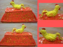 Rooster butter dish by DaineBloohAiraSatake