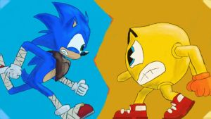 Cartoon Wars, Sonic vs Pac Man by AtomicPhoton