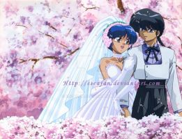 Ranma Akane Wedding .painting. by escafan