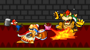 Art Trade - Mario and Kirby vs. Dedede and Bowser by KingAsylus91