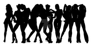 Stripper Girl Silhouettes 8 by egoform