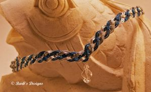 Blue And Silver Woven Wire Circlet With A Crystal by Barbsdesigns