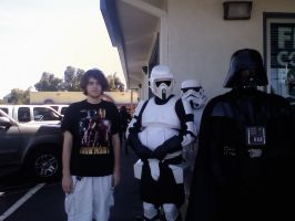 Me, some troopers, and Vader by The-Animeniac