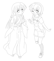 Rika and Satoko Line Art by Bakufun721