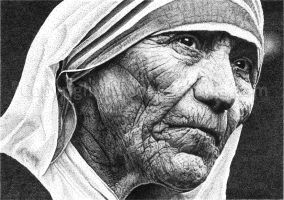 Pointillism - mother teresa by solveiggaida