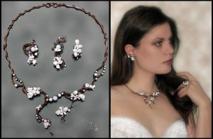 Bridal set of wire-wrapped jewelry by JSjewelry