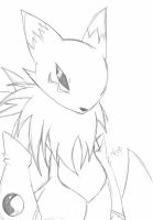 Renamon:. Sketch by Crystalhedgie