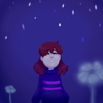 Frisk in waterfall (First time drawing in SAI) by Yuiartenn