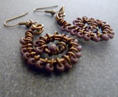 tentacle steampunk earrings by Rouages-et-Creations