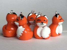 Fox charms by LittleClayLamb