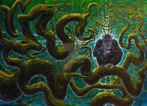 Chimp sitting in twisted vines by dualtest