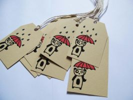 Rainy Days Panda Gift Tags by PinkPixieDragon
