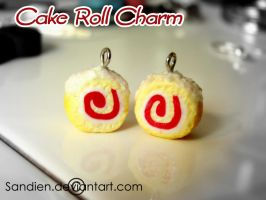 Raspberry Roll Cake charms by Sandien