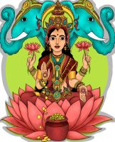 Lakshmi, Hindu Goddess of Wealth by starfishyy