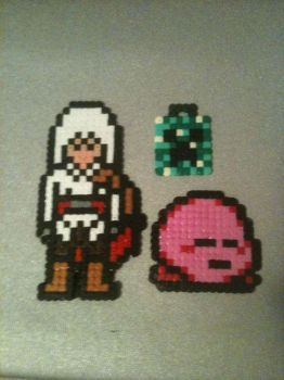 Hama Beads ~ Ezio Auditore, Kirby and Creeper by Yuny-Chan
