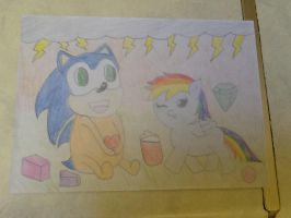 Baby Rainbow Dash Love Baby Sonic the Hedgehog by extraphotos