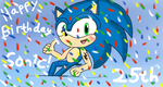 Happy 25th Birthday Sonic by sarahlouiseghost