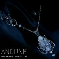 ALPINE Rainbow Moonstone Necklace Handcrafted by ANDUNEJewellery