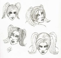 Harley Quinn New 52 Face Sketches by carriehowarth
