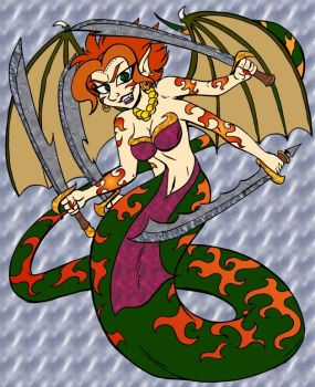Demon-Snake Goddess by chaoswolf1982