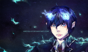 AoNoExorcist. Blue Flame by greyeille