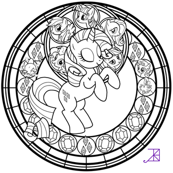 Stained Glass: Rarity -line art- by Akili-Amethyst