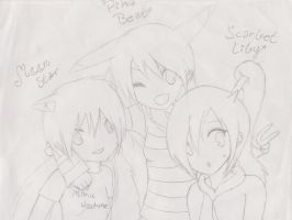 Pika, Moon and Scarlet by MoonStar34
