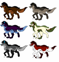 Wolf Adoptables Set Three OPEN by ScottieRouge