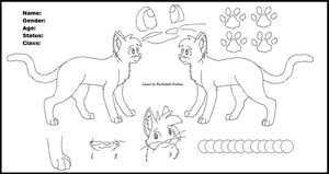 Cat refrence sheet lineart by Psychedelic-Fuchsia