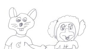 Chuck E. Cheese and Helen Henny hand in hand by dth1971