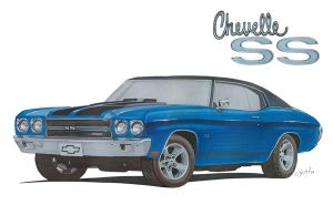 Chevy Chevelle in marker by tobycole
