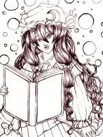 Patchouli Knowledge Pen and Ink by About12Kittens