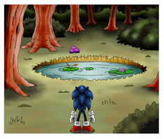 .: Sonic and the mysterious pond  - colored - :. by funkyjeremi