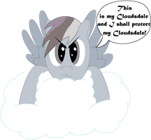 Greybow Dash and her Cloudsdale by dazkid33
