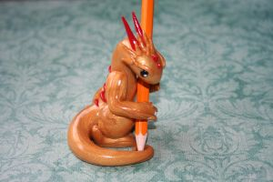Gold and Red Dragon Pencil Holder by redninjacreations