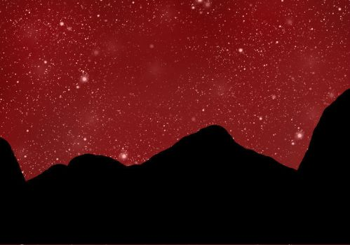 Red Galaxy behind the mountains thing by Jessie-Puffed-Dash13