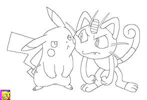 Meowth and Pikachu by princessangel83