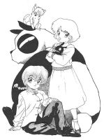 Ranma, Akane and Genma by cwbird