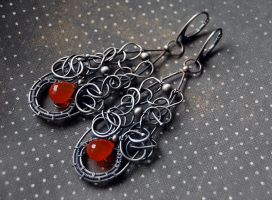Earrings Lamia, silver sterling and cornelian by honeypunk