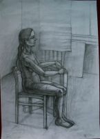 Sitting lady by pagone