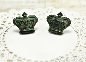 Antique Crown Stud Earrings by Necrosarium