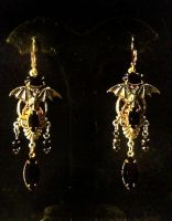 Steampunk Bat Chandelier Earng by lilibat