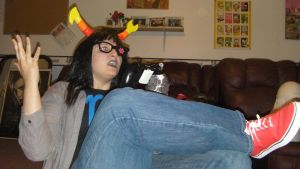 Vriska Playing videogames by kast43