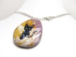 Black Cat Pendant Necklace / Sold by sobeyondthis