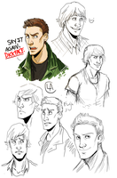 supernatural sketchdump by miraliese