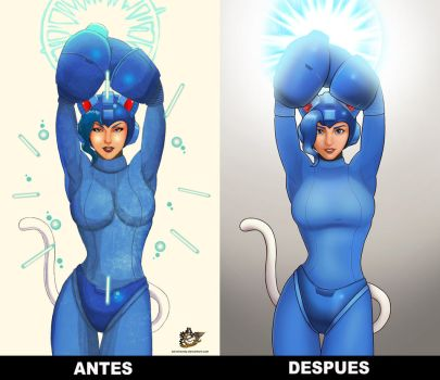 Felicia X Megaman before and after by Ed-miranda