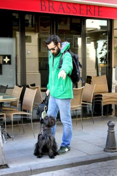 guy in green with cute dog by Foshia