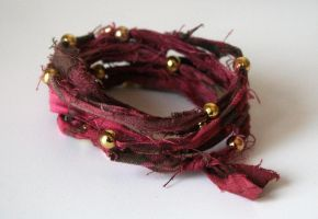 Tie Dye Fabric Gold beads by clroavieg