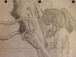 Spirited Away - Chihiro and Haku hug drawing by Agent-Minnesota