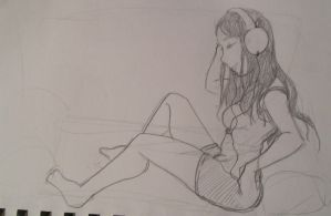 Girl with Headphones 3 by Wild-Neko